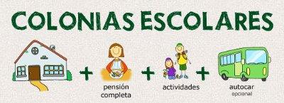 Colonias escolares = Casa de colonias + pensión completa + actividades + autocar (opcional)