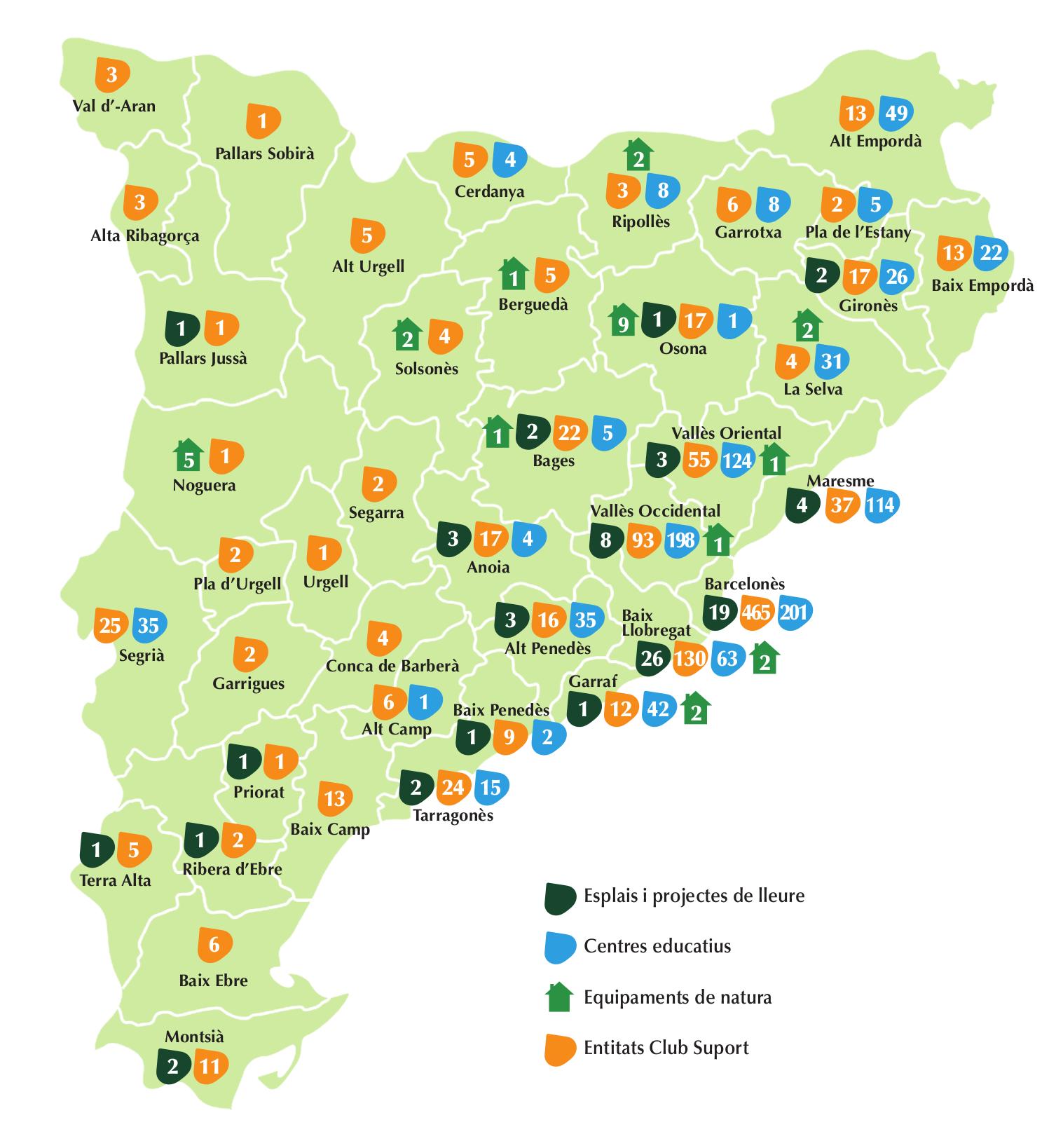 A Fundesplai fem projectes i donem serveis a entitats, escoles i ajuntaments de tot Catalunya: Barcelona, Girona, Lleida i Tarragona